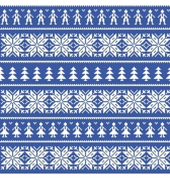 Nordic christman seamless pattern with people vector image