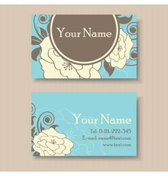 Blue floral visit card vector