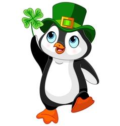 Penguin celebrates saint patrick day vector