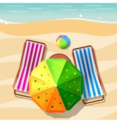 Beach chair and umbrella top view vector