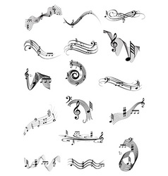 Music notes icons set vector