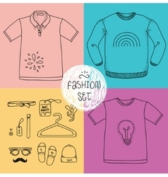 Hand drawn clothing set blank t-shirt polo vector