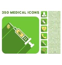 Infection injection icon and medical longshadow vector