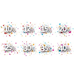 Paper numeral signs set vector image