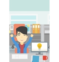 Creative excited man having business idea vector