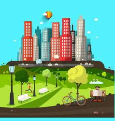 abstract city flat design town with skyscrapers vector image vector image