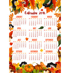 Autumn nature 2018 calendar template vector