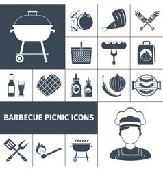 Barbecue picnic black icons set vector