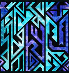 Blue tribal geometric seamless pattern vector