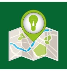 Bulb green energy pin icon vector
