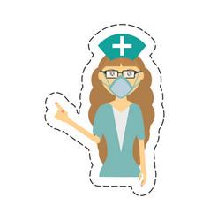 Cartoon female nurse mask medical glasses vector