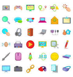 computer part icons set cartoon style vector image