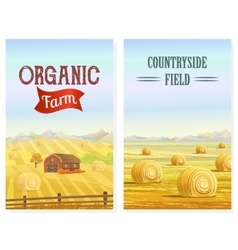Countryside Rural area Fields with haystacks vector image