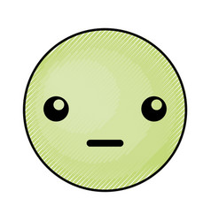 Cute green kawaii emoticon face vector