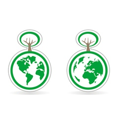 Ecology button icon or logo with earth and tree vector image vector image