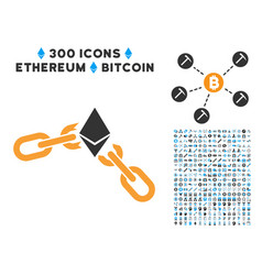 Ethereum broken chain flat icon with collection vector
