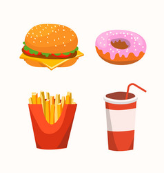 Fast food with burger drink donuts fries vector