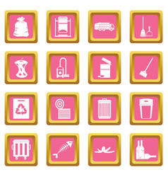 Garbage thing icons pink vector