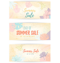Hand drawn tropical palm leaves banner vector