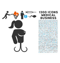Hooker lady icon with 1300 medical business icons vector