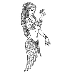 Indian Dancer Girl in Hand Drawn Style vector image