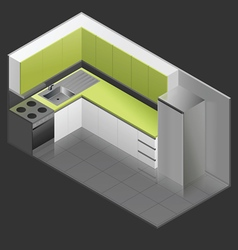 Isometric - design to small kitchens vector