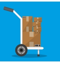 Metallic hand truck with boxes vector image vector image