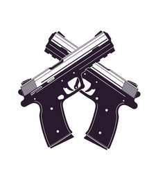 modern pistols two crossed handguns vector image