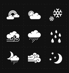 Nine flat modern weather icons vector