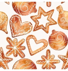 Seamless pattern of cute watercolor gingerbread vector image