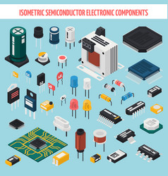 Semiconductor electronic components isometric icon vector