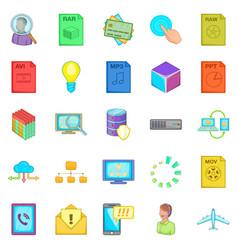 Server icons set cartoon style vector