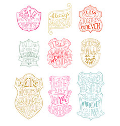 Set of outlined romantic badges vector