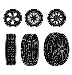 set of six wheels vector image