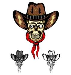 skull cowboy color vector image