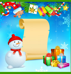 Snowman with Christmas Gift vector image vector image