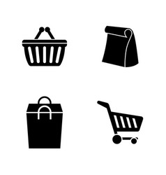 supermarket bag simple related icons vector image vector image