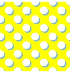 Tile pattern with white polka dots on yellow vector image vector image