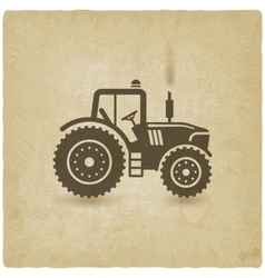 tractor silhouette old background vector image vector image
