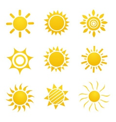 Set of glossy sun images vector