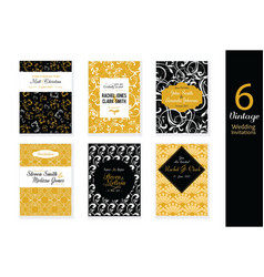 Set of Wedding Invitations Cards With Black vector image