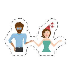 fun couple happy dance vector image