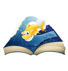 An open storybook with a smiling shark vector