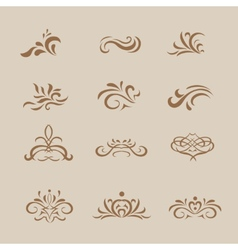 Beautiful white vintage decorative elements and vector