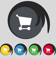 Shopping basket icon sign symbol on five colored vector