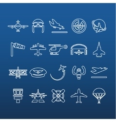Aviation outline icons vector