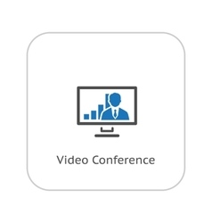 Video conference icon business concept flat vector