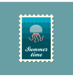 Jellyfish flat stamp vector