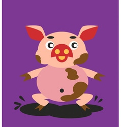 Pig and dirt vector
