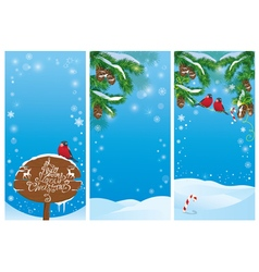 Vertical banners with fir tree branches and bullfi vector